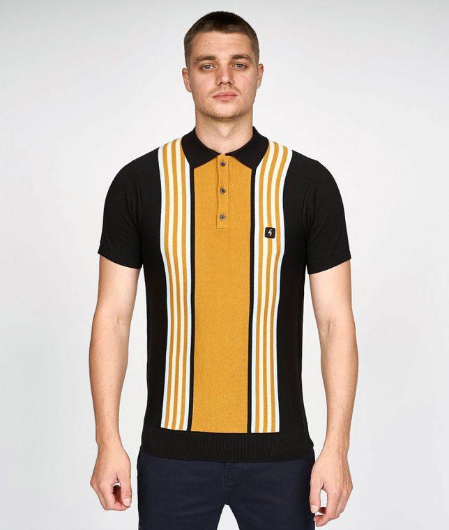 Gabicci Vintage Black Casbah Stripe Polo Shirt