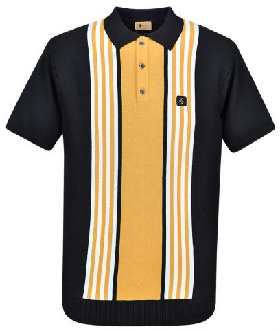 Gabicci Vintage Black Casbah Stripe Polo Shirt