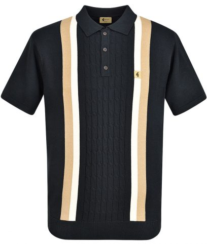 Gabicci Vintage Black Turney Stripe Knit Polo Shirt