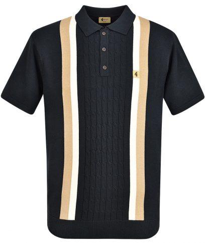 Gabicci Vintage Black Turney Stripe Knit Polo Shirt