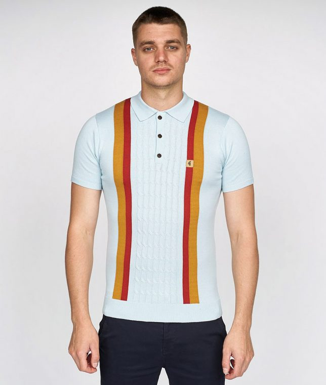 Gabicci Vintage Mist Turney Stripe Knit Polo Shirt