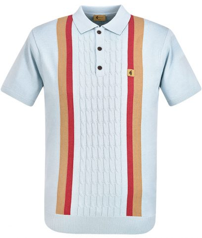 Gabicci Vintage Mist Turney Stripe Knit Polo Shirt