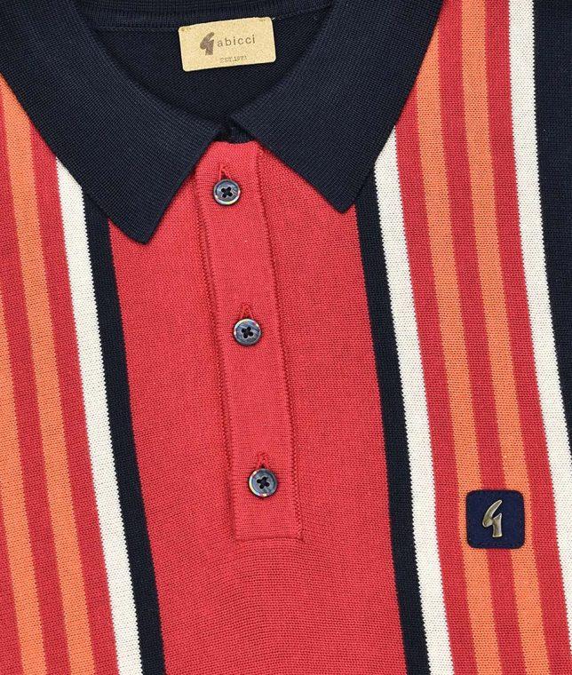 Gabicci Vintage Navy Casbah Stripe Polo Shirt