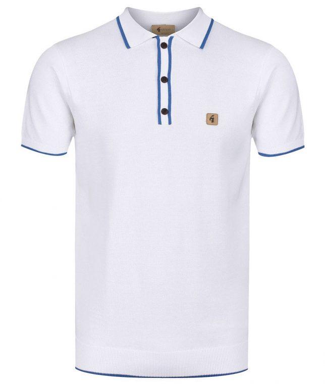 Gabicci Vintage White Lineker Tipped Polo Shirt