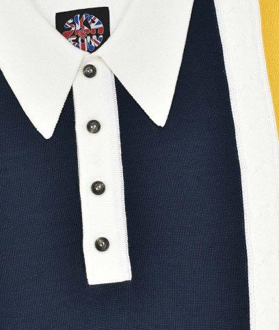 Ska /& Soul Ecru Knitted Racing Stripe Polo Shirt
