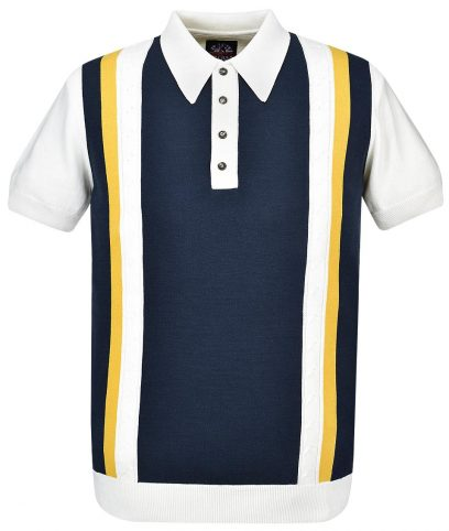 Ska & Soul Ecru Stripe Cable Knit Polo Shirt