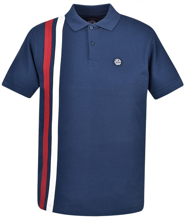 Ska & Soul Navy Racing Stripe Polo Shirt