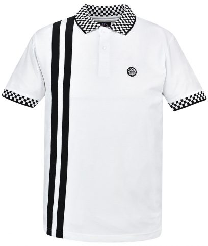 Ska & Soul White Twin Stripe Chequerboard Polo Shirt
