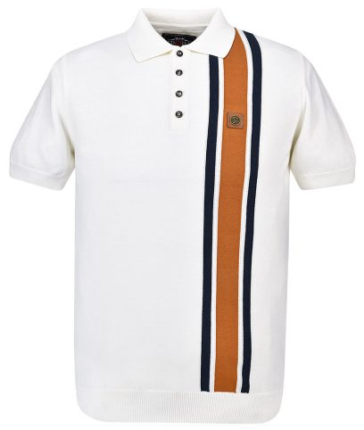 Trojan Records Ecru Racing Stripe Knit Polo Shirt