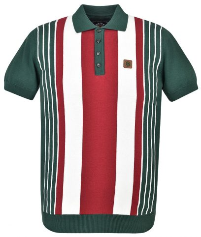 Trojan Records Forest Green Multi Stripe Knit Polo Shirt