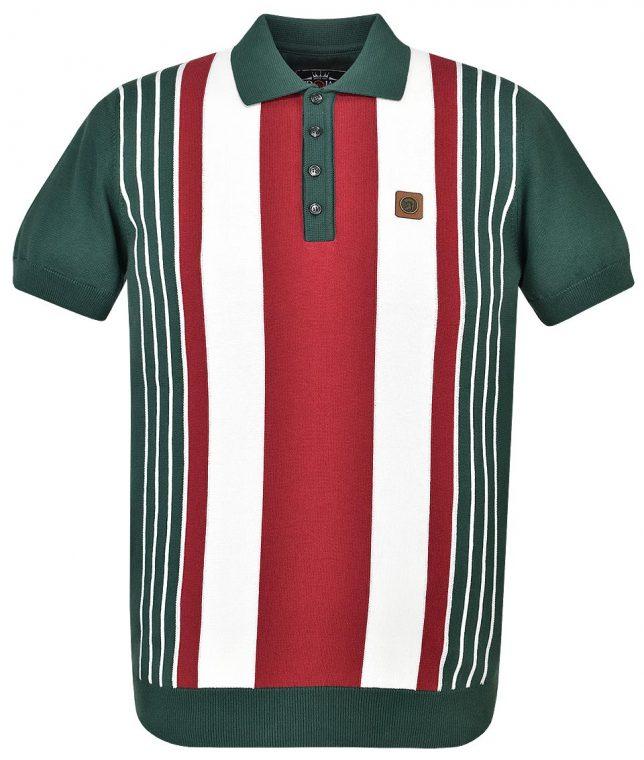 Trojan Records Forest Green Multi Stripe Knit Polo Shirt
