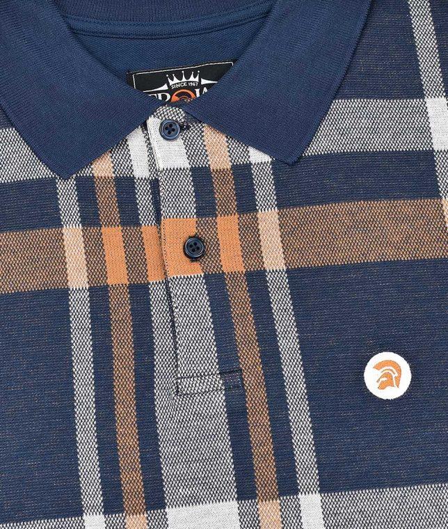 Trojan Records Navy Check Front Polo Shirt