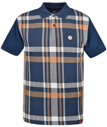Trojan Records Navy Check Front Polo Shirt