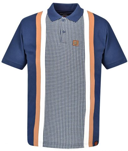 Trojan Records Navy Houndstooth Panel Polo Shirt