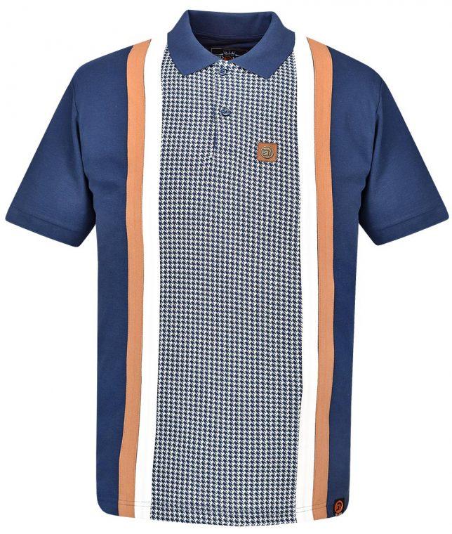Trojan Records Navy Houndstooth Panel Polo Shirt