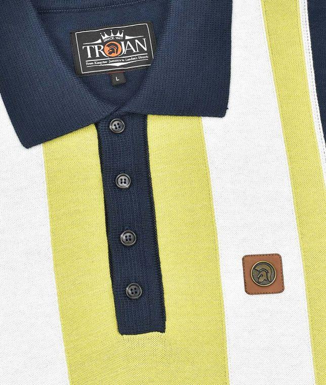 Trojan Records Navy Multi Stripe Knit Polo Shirt