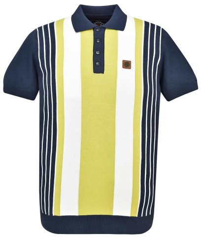Trojan Records Navy Multi Stripe Knit Polo Shirt