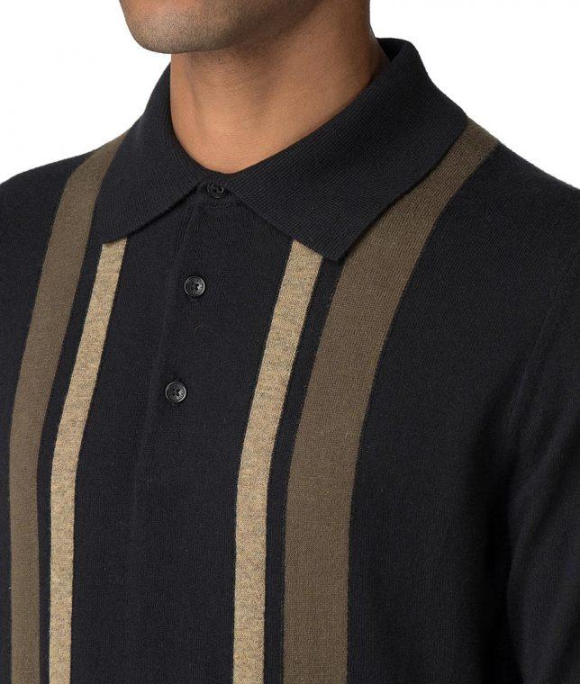 Ben Sherman Black Stripe LS Polo Shirt
