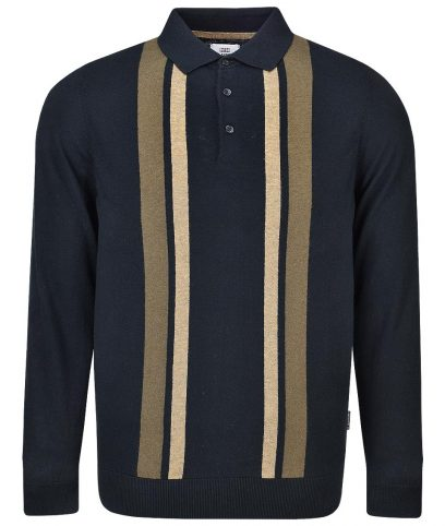 Ben Sherman Black Stripe LS Polo Shirt