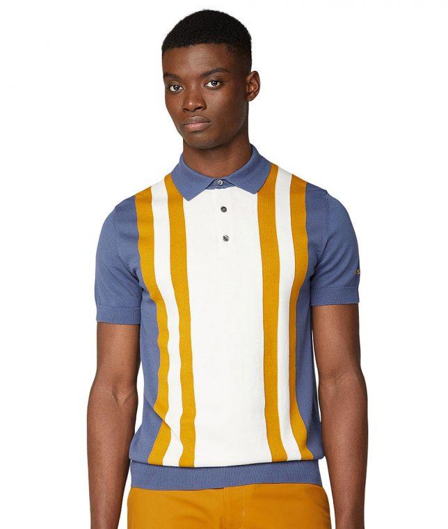 Ben Sherman Light Indigo Colour Block Knit Polo Shirt