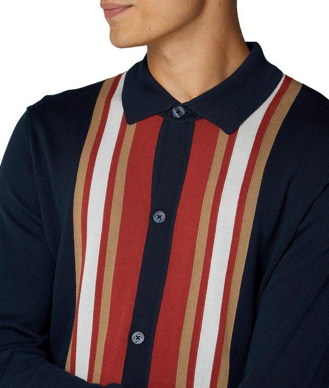 Ben Sherman Navy Stripe Button Thru LS Polo Shirt