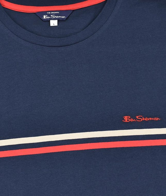 Ben Sherman Navy Twin Stripe Chest T-Shirt