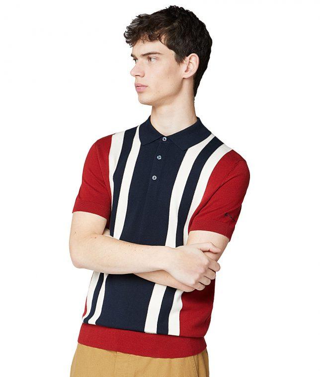 Ben Sherman Red Colour Block Knit Polo Shirt