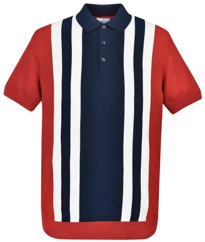 Ben Sherman Red Colour Block Knit Polo Shirt