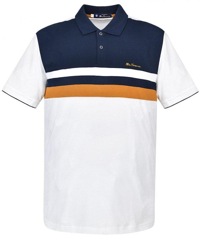 Ben Sherman White Chest Stripe Polo Shirt
