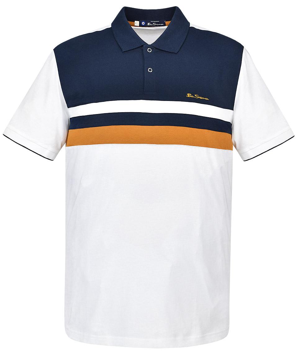Habitat Gigante Detectar  Ben Sherman White Chest Stripe Polo Shirt - Modfellas Clothing