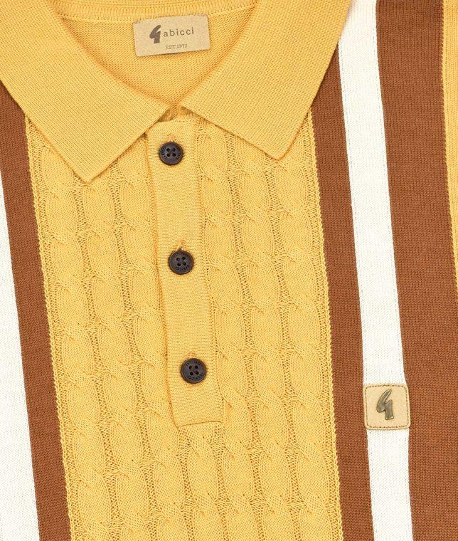 Gabicci Vintage Solar Tram Stripe Cable LS Polo Shirt