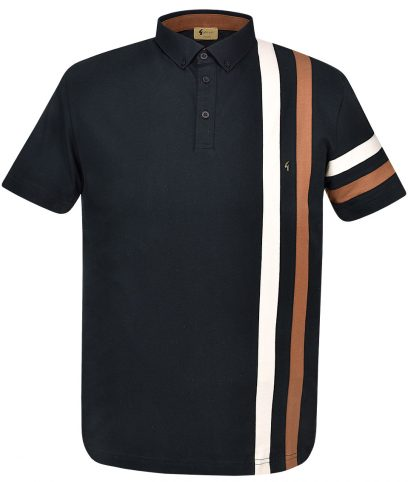 Gabicci Vintage Black Alpine Racing Stripe Polo Shirt