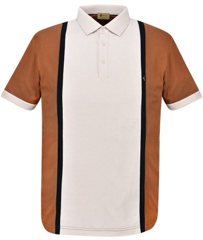 Gabicci Vintage Honeycomb Moulin Stripe Panel Polo Shirt