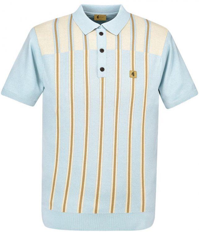 Gabicci Vintage Mist Holmdeme Stripe Knit Polo Shirt