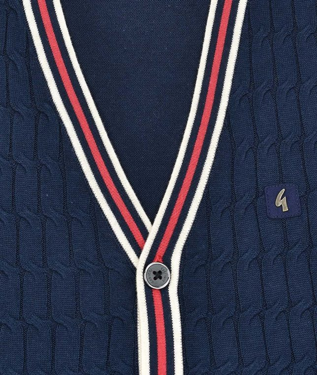 Gabicci Vintage Navy Monty Cable Knit Cardigan