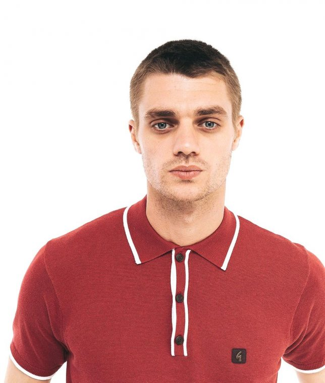 Gabicci Vintage Red Lineker Tipped Polo Shirt