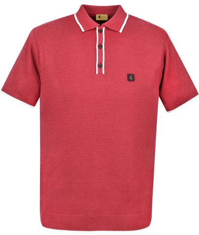 Gabicci Vintage Red Lineker Tipped Polo Shirt