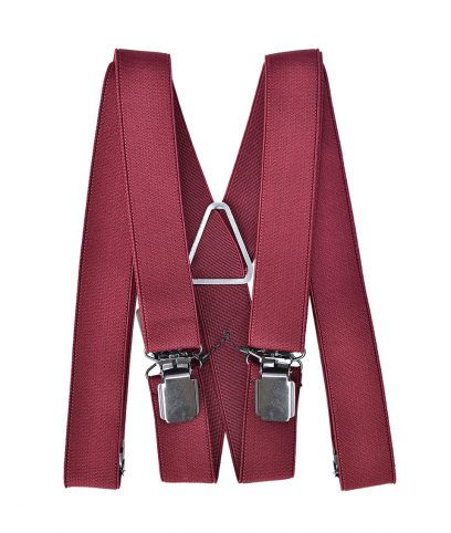 Plain Burgundy Braces Suspenders