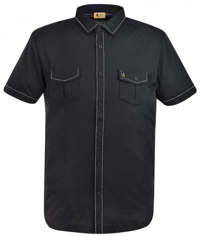 Gabicci Vintage Black Tack Stitch Detail Polo Shirt
