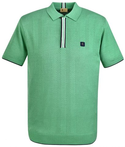 Gabicci Vintage Elm Casino Pointelle Stripe Polo Shirt
