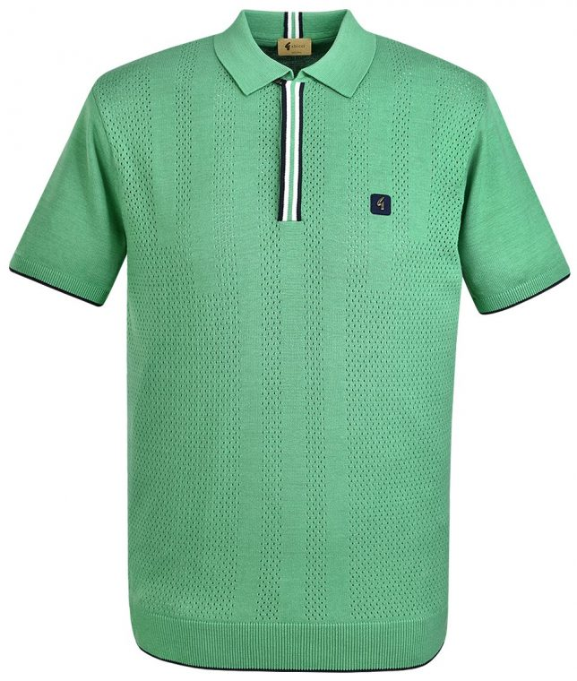 Gabicci Vintage Elm Casino Pointelle Stripe Polo Shirt