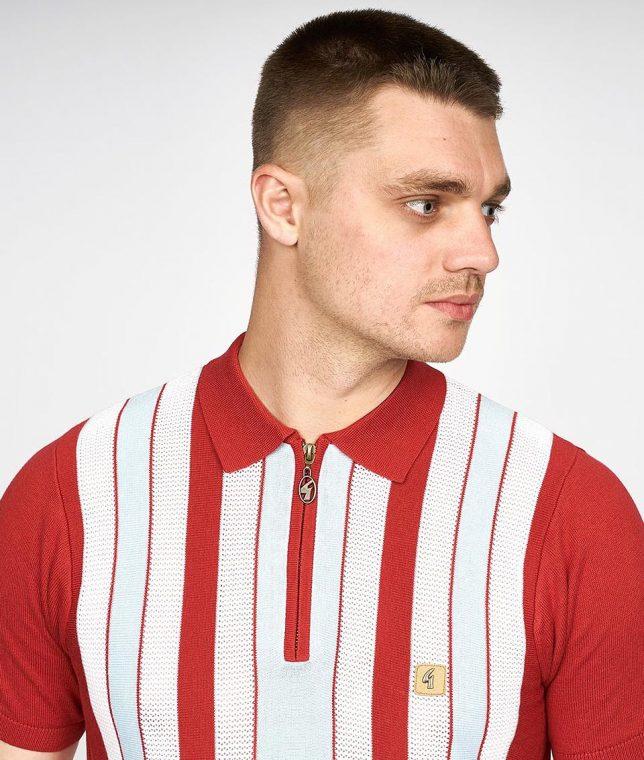 Gabicci Vintage Lava Colt Stripe Polo Shirt