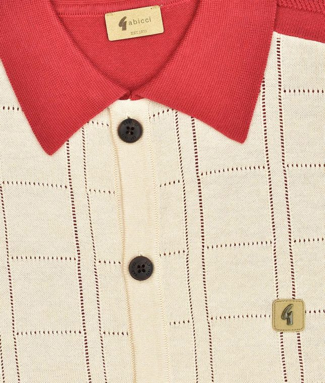 Gabicci Vintage Lava Morgan Pointelle Check Polo Shirt