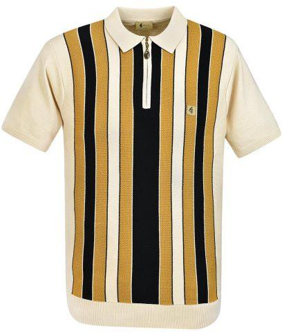 Gabicci Vintage Oat Colt Stripe Polo Shirt