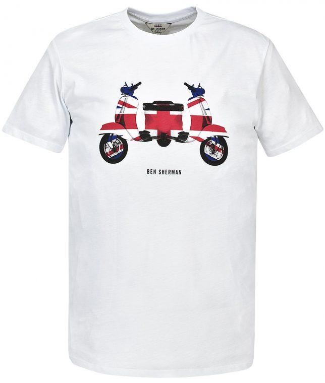 Ben Sherman White Vespa Print T-Shirt