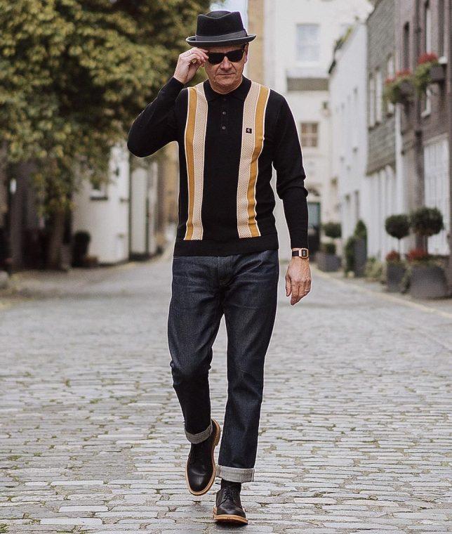Gabicci Vintage Black Croxted Stripe LS Polo Shirt