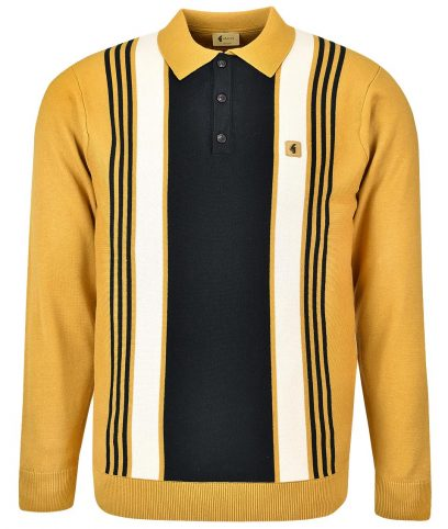 Gabicci Vintage Harvest Searle Stripe LS Polo Shirt
