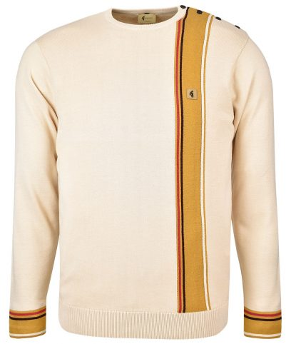 Gabicci Vintage Oatmeal Smithy Stripe Button Neck Jumper