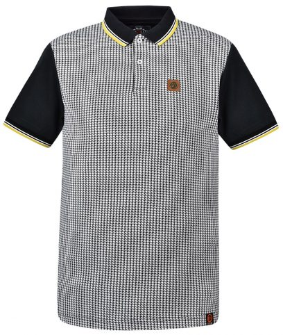 Trojan Records Black Houndstooth Tipped Polo Shirt