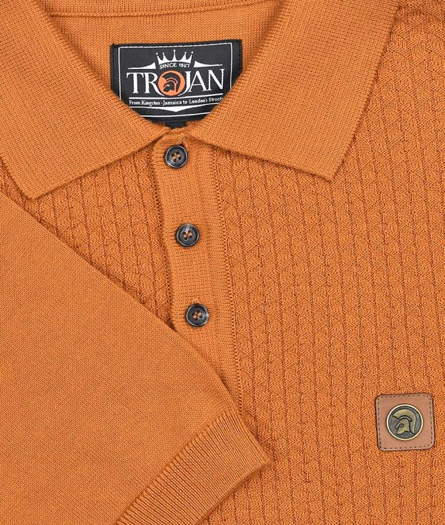 Trojan Records Golden Tan Chevron Panel Polo Shirt